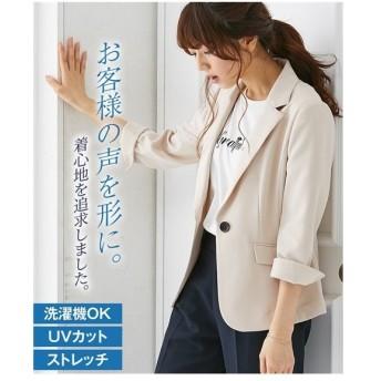 ジャケット レディース 洗えるダブルクロス タテヨコ ストレッチ UVカット 7分袖 テーラード 年中 S/M/L ニッセン