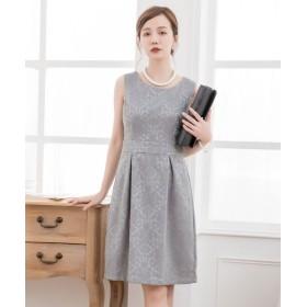 ドレス スター ダマスク柄ノースリーブワンピース レディース グレー XLサイズ 【DRESS STAR】
