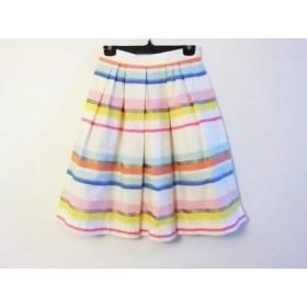 【中古】 ケイトスペード ロングスカート サイズ0 XS レディース 美品 白 ピンク マルチ ボーダー