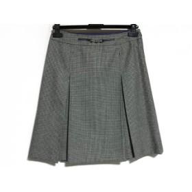 【中古】 アマカ AMACA スカート サイズ40 M レディース アイボリー 黒 千鳥格子/プリーツ