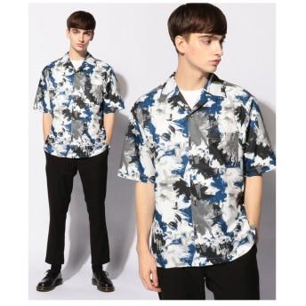 【50%OFF】 メンズビギ 総柄オープンカラーシャツ/開襟シャツ メンズ ブルー S 【Men's Bigi】 【セール開催中】