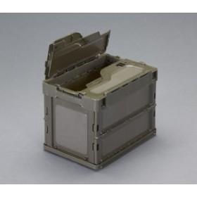 エスコ ESCO 366x264x283mm/20.0L 折畳コンテナ(OD色/蓋付) EA506AA-30D WO店