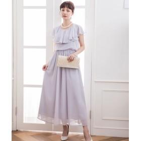 ドレス スター シフォンマキシ丈ロングワンピース レディース グレー XXLサイズ 【DRESS STAR】