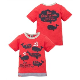 9Jira(くじら)前後プリント半袖Tシャツ(男の子。女の子 子供服) Tシャツ・カットソー