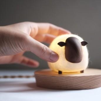 羊のナイトライト/ハンドメイド/木製品/羊毛フェルト
