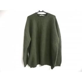 【中古】 アクアスキュータム Aquascutum 長袖セーター サイズM メンズ カーキ