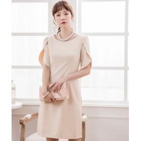 ドレス スター ペタル(チューリップ)スリーブシンプルワンピース レディース ナチュラル XXLサイズ 【DRESS STAR】