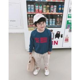 ロゴプリント入りおしゃれラウンドネック丸襟トレーナー  韓国 子供服 男の子 子供服 男の子 トレーナー キッズ トレーナー