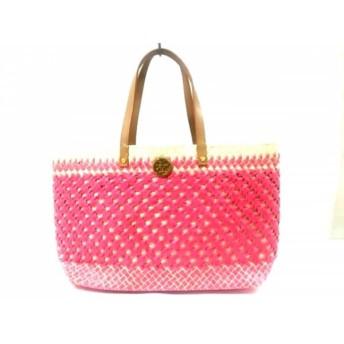 【中古】 トリーバーチ TORY BURCH トートバッグ 美品 アイボリー ピンク ライトブラウン かごバッグ