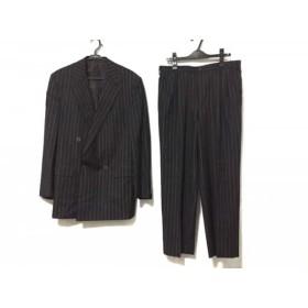 【中古】 ジャンニヴェルサーチ ダブルスーツ サイズ48 M メンズ 黒 ダークグレー ストライプ/肩パッド