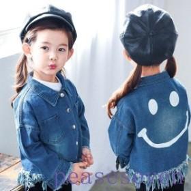 春秋ジーンズコート子供コート女の子男の子韓国風子供服キッズ服ジュニアジャケットコートジャンパー可愛い90