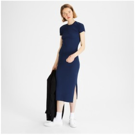 【Theory】Wooster Crepe Knit Basic Crew SS Dress