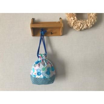 入園入学準備に…ちょうちょとお花 ブルーの コップ袋 巾着袋 ブルー