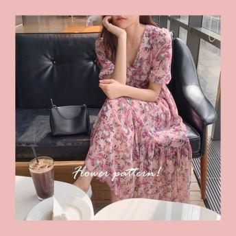 [55555SHOP] 春新作 驚きの特価 韓国ファッション カジュアル サイト1位 シフォン プリント 花柄ワンピース エレガント 欧米風レディース ヴィンテージ花柄