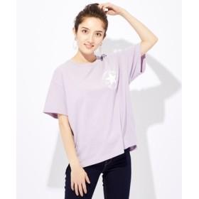 CONVERSE 胸ロゴ刺繍Tシャツ レディース ライラック
