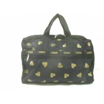 【中古】 レスポートサック LESPORTSAC ハンドバッグ 美品 黒 ゴールド ハート レスポナイロン