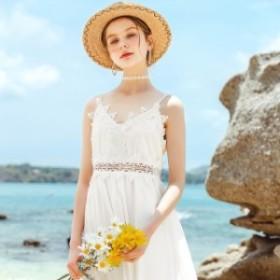 春服 レディース ロングワンピース ホワイトのミモレ丈キャミソールワンピース レース使い サマードレス ウエストレース 大人可愛い