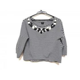 【中古】 ダイアグラム Diagram GRACE CONTINENTAL 七分袖Tシャツ サイズ36 S レディース 黒 アイボリー
