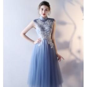 刺繍 スタンドカラー ノースリーブ ミモレ丈 ホストドレス パーティードレス お呼ばれ 結婚式 二次会 披露宴  無地