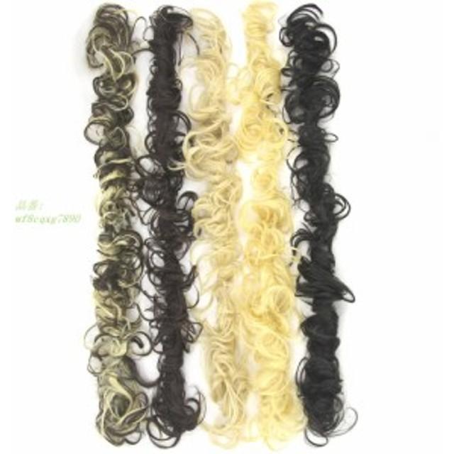 Soowee 80センチ長い合成おだんごヘアカーリーヘアエクステンションカチューシャ髪ドーナツローラーヘアバンドシュシュアップヘア髪シニ