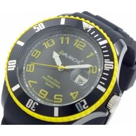 アバランチ AVALANCHE クオーツ 腕時計 AV-1019S-BKY-44 ブラック イエロー(バンド調整器付)