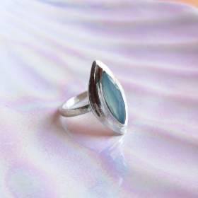 silver 925 sea blue chalcedony ring