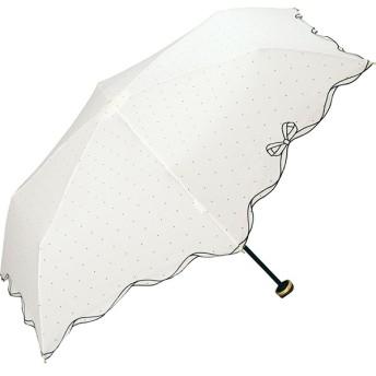 [マルイ] 日傘 晴雨兼用 折りたたみ ピンドットリボンスカラップmini(レディース/雨の日も使える)/w.p.c(WPC)