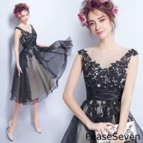 2378a23a35761 総レースフレアワンピースドレスパーティードレスシースルー花柄刺繍かわいい春秋きれいめひざ