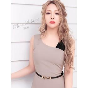 ドレス - Retica Tika ティカ バイカラーアシメントリーデザインタイトミニドレス (ネイビー/グレー)(Sサイズ/Mサイズ/Lサイズ/XLサイズ)大人 レディー かわいい 上品 ボディライン ストレッチ生地 ベルト 女子会パーティードレス キャバドレス