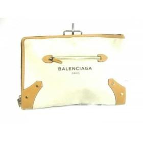 【中古】 バレンシアガ クラッチバッグ - 419994 アイボリー ライトブラウン キャンバス レザー