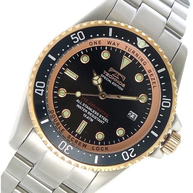 8bb043ad2c テクノス TECHNOS クオーツ メンズ 腕時計 T4467SH ブラック ブラック ...