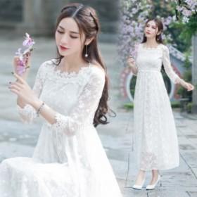 ワンピース ドレス ウエディング 花柄 刺繍 シースルー 透け感 総レース 七分袖 ハイウエスト