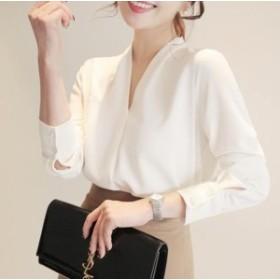 レディース 大人 OL シフォン 白いシャツ 上品 vネック 大きいサイズ 人気 春新作 ブラウス オシャレ 通勤 長袖