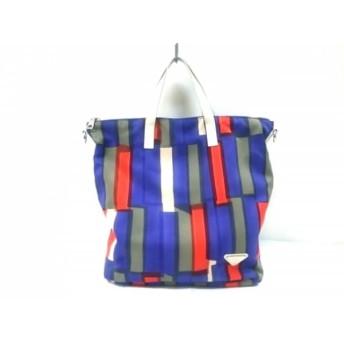 【中古】 プラダ PRADA ハンドバッグ - B2052A カーキ ネイビー レッド 化学繊維 レザー