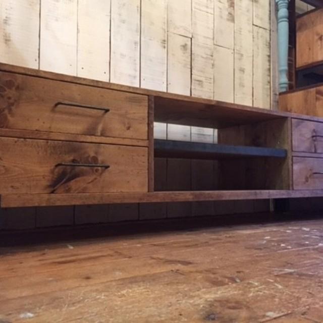 TV Board-150,4dr, iron,無垢木,鉄脚,テレビ台
