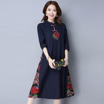 新品セール ワンピース レディース 中国風 ワンピース 長袖 チャイナ風 花柄 ゆったり/ワンピース 春夏 結婚式 体型カバー