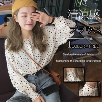 2019春新作/Tシャツツ ブラウス 長袖 レースレースレディース フリル 大きいサイズ スタンドカラー かわいい 韓国ファッション