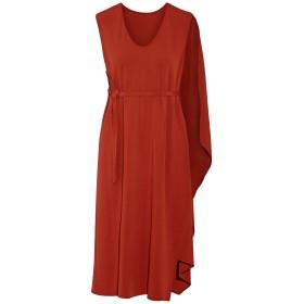 《期間限定セール開催中!》NARCISO RODRIGUEZ レディース 7分丈ワンピース・ドレス 赤茶色 40 レーヨン 97% / ポリウレタン 3% / シルク