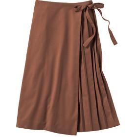 70%OFF【レディース】 ラッププリーツスカート - セシール ■カラー:オーク ■サイズ:LL,3L
