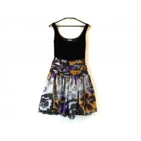 【中古】 ミュウミュウ miumiu ドレス サイズ36 S レディース 美品 黒 ライトグレー パープル マルチ