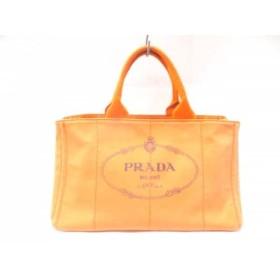 【中古】 プラダ PRADA トートバッグ CANAPA BN1872 オレンジ キャンバス