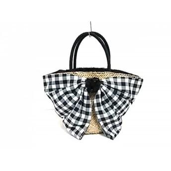 【中古】 トゥービーシック トートバッグ ベージュ 黒 白 リボン/チェック柄 天然繊維 化学繊維