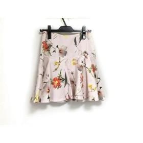 【中古】 テッドベイカー TED BAKER スカート サイズ1 S レディース 美品 ピンク マルチ 花柄
