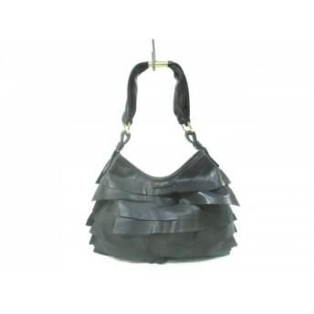 【中古】 イヴサンローラン YvesSaintLaurent ショルダーバッグ サントロペ 黒 フリル レザー