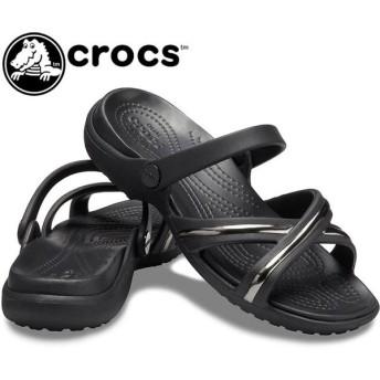 クロックス crocs サンダル レディース 205571 メレーン メタル ブロック エックス バンド ウィメン ローヒール ブラック
