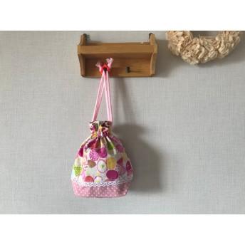 入園入学準備に…ちょうちょとお花 ピンクの コップ袋 巾着袋 ブルー