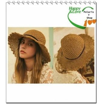 ストローハット レディース 麦わら帽子 UVカット つば広 折りたたみ帽子 日よけ海へ
