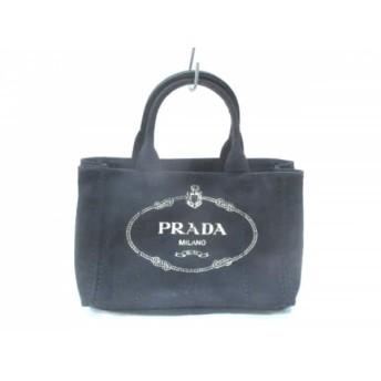 【中古】 プラダ PRADA トートバッグ CANAPA 1BG439 黒 白 キャンバス