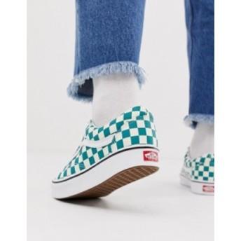バンズ メンズ スニーカー シューズ Vans Old Skool checkerboard sneakers in green Green