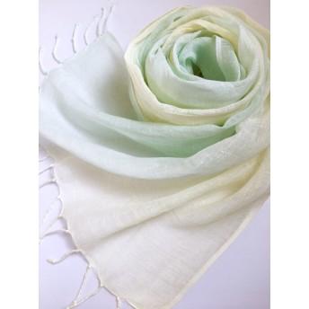 *白緑色×淡檸檬色*しなやかリネンショール